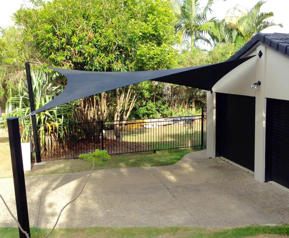 Black Driveway Shade Sail - Sunshine Coast, Shade Trim Canvas